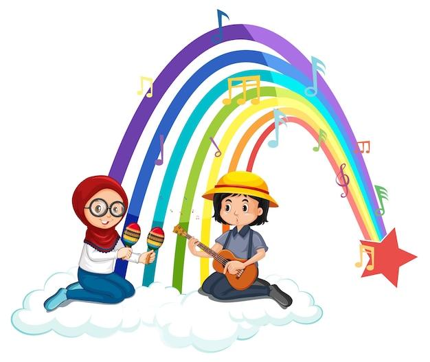 Due bambini che suonano la chitarra e le maracas con l'arcobaleno