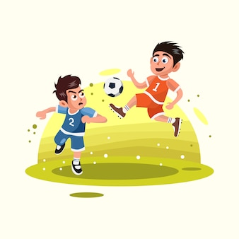 Two kids playing soccer ball