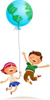 地球の風船で遊んでいる2人の子供。ベクトルイラスト