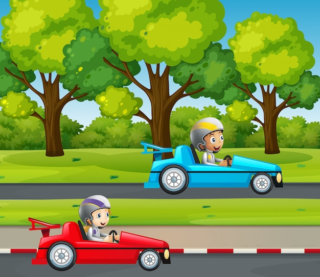 Two kids racing car in the park