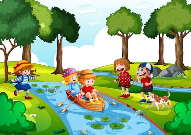Two kids row the boat at water fall with their friends on white background