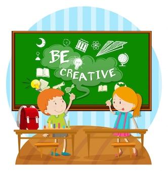 Two kids writing on board in classroom