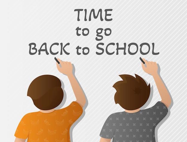 학교로 돌아갈 시간이라는 단어로 벽에 글을 쓰는 두 아이