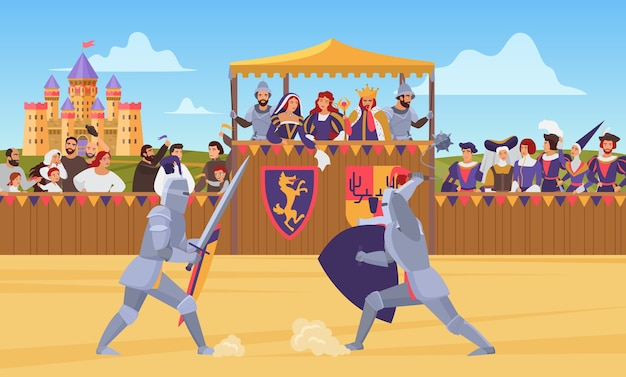 Two knights in full body armor fighting together