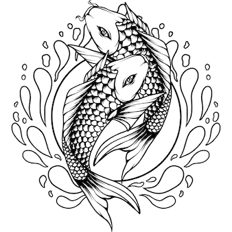 Two koi fish japan silhouette