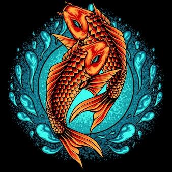 Two koi fish japan