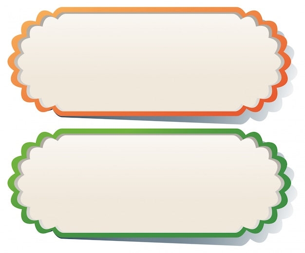 Two labels in orange and green