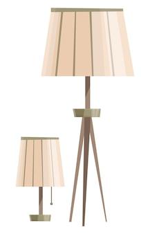 白い背景のインテリアアイテムに分離されたインテリア卓上と床立ち用の2つのランプ