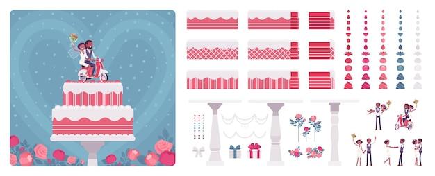 Двухслойный свадебный торт с милыми фигурками, кремом, глазурью для создания праздничного дня, элементами декора для создания собственного дизайна. мультяшный плоский инфографический рисунок