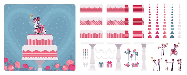Two layer wedding cake with cute topper figures construction set, cream, frosting for special day party creation, decoration elements to build own design. cartoon flat style infographic illustration