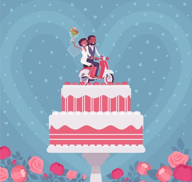 Двухслойный свадебный торт с симпатичными фигурками