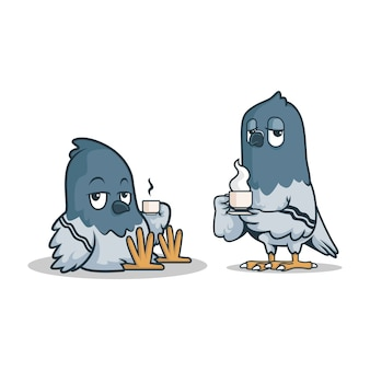 翼にコーヒーを入れた2羽の怠惰な鳩。