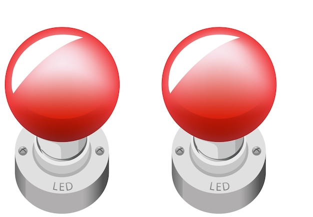 Two led objects cartoon style isolated on white background