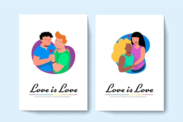 2人のlgbtの同性愛者のカップルとレズビアンのカップルがお互いを抱きしめます。