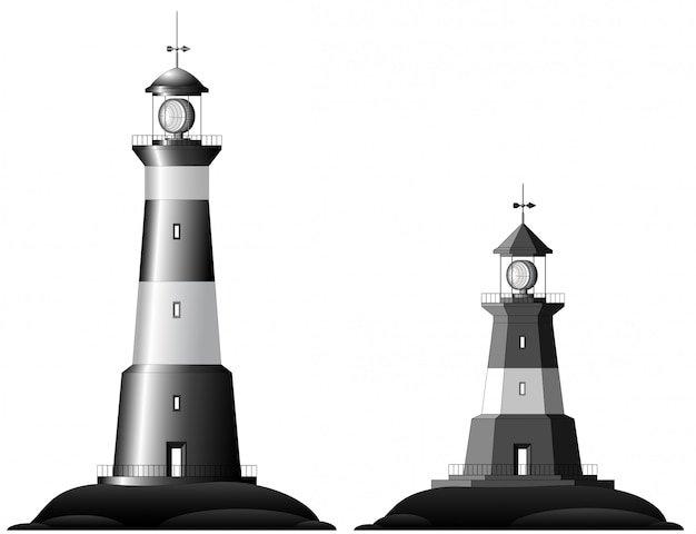 Two lighthouses isolated on white