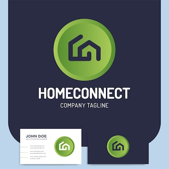 Two line style home connect or building logo
