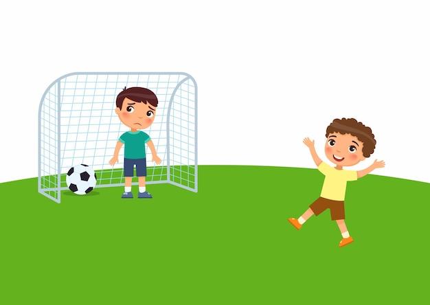 두 명의 작은 소년이 축구를하고 있고, child는 골을 넣었고 승리를 즐깁니다. 아이는 져서 슬프다. 야외에서 노는 아이들 만화