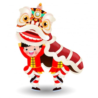Two little boys performs lion dance, happy chinese new year 2020, kids playing chinese lion dancing