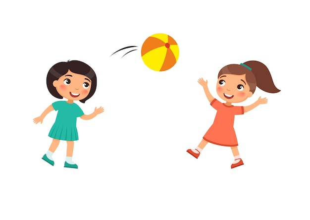 Two little cute girls play with a ball. kids playing outdoors cartoon character. children have fun.  summer recreation activity.