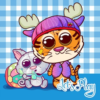 Two little cute tiger and cat cartoon . vector
