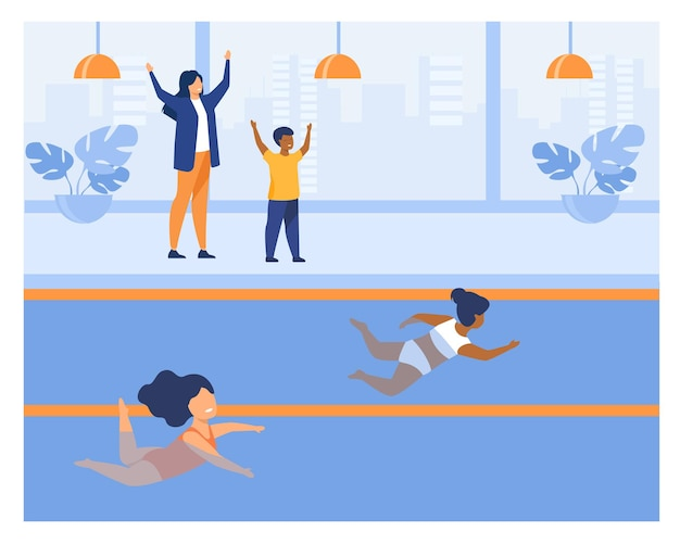 Two little girls participating in swimming contest. swimsuit, pool, water flat  illustration. sport activity and competition concept