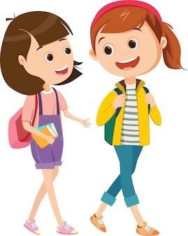 Две маленькие девочки гуляют вместе в школу