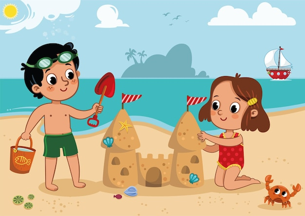Two little kids playing on the beach outdoor activity vector illustration