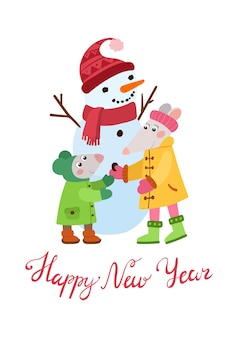 Two little mice making snowman flat vector illustration