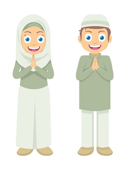 Two little muslim kids greetings ramadan kareem