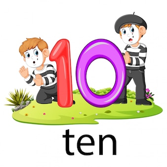 Two little pantomime playing with the ten balloon number