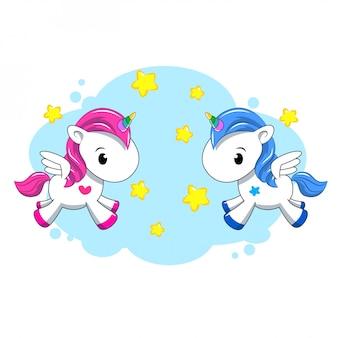 Два маленький розовый и синий единорог на радуге. мультфильм. иллюстрация