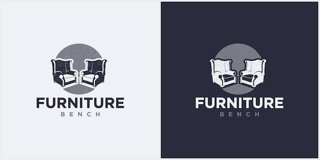 Two lounge chairs logo interior minimalist space, bench furniture logo design vector