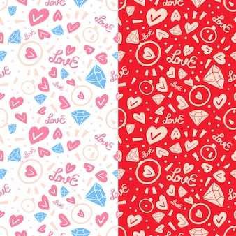 Two love doodle seamless pattern