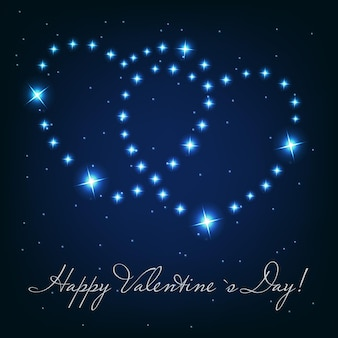 Two love heart from beautiful bright stars on the background of