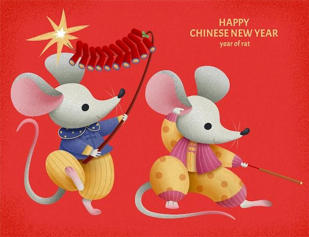 붉은 배경에 중국 설날 폭죽을 밝히는 두 개의 사랑스러운 만화 쥐