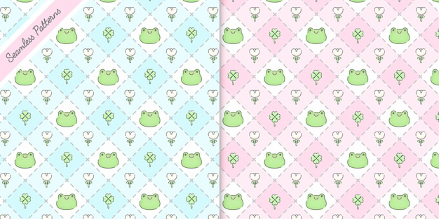 Two lovely checkered and frogs seamless patterns premium vector