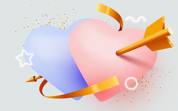 큐피드 화살로 피어싱 된 두 개의 사랑의 마음. 발렌타인 그림입니다.