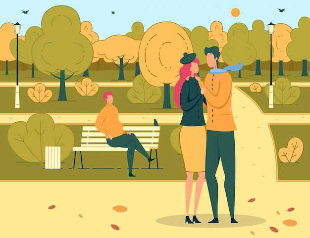 Two loving people on romantic dating in urban park