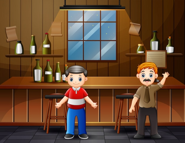 Two male friends standing in the bar