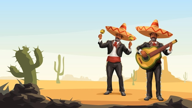 Two male mexican mariachi playing music outdoor