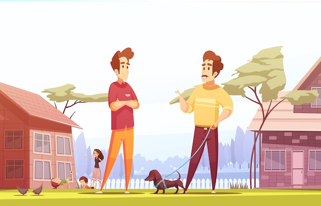 Two male neighbors at village illustration