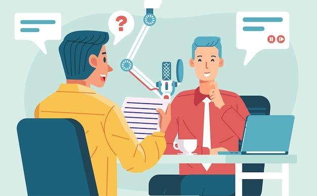 スタジオ、マイク、ラップトップテーブルの図で男性起業家とのポッドキャストインタビューを行う2人の男性キャラクター。ポスター、ランディングページなどに使用