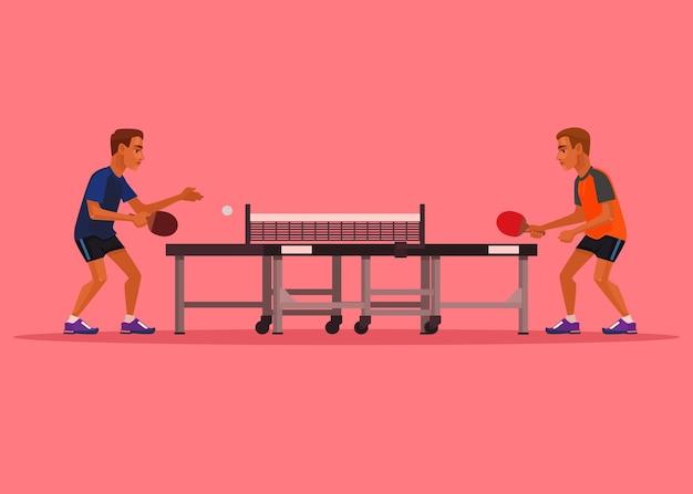 Два мужских персонажа играют в теннис. плоский мультфильм иллюстрации