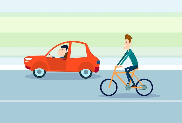 Two man drive car, ride bicycle road