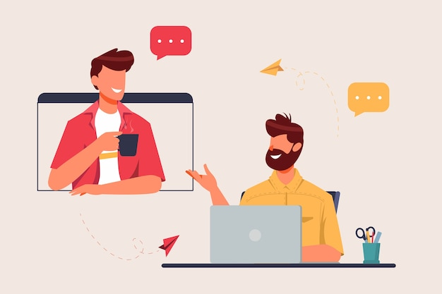 Two man having virtual meeting from home concept