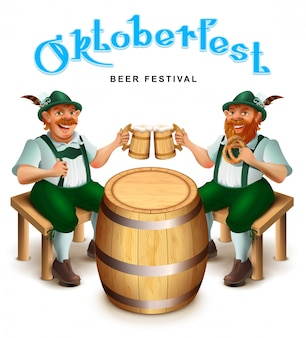 Двое мужчин в традиционной немецкой одежде сидят и пьют пиво.