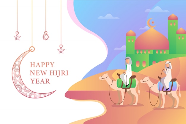 Two man riding two camels in happy new hijri year illustration with mosque