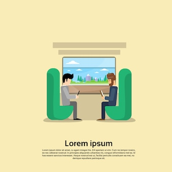 Two man in train compartment vacation holiday trip banner