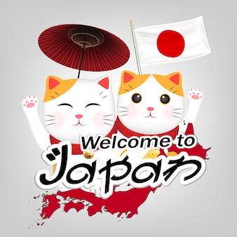 Two maneki neko welcome to japan vector