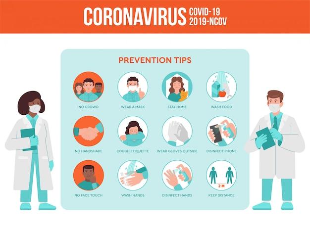 두 명의 의료진, 의사 및 간호사가 코로나 바이러스 검역 대유행 상황에 대한 예방 정보를 제공합니다. 코로나 바이러스는 인포 그래픽 명령을 설정합니다.